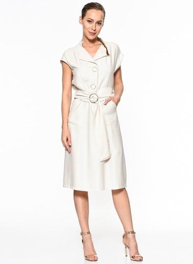 Setre Diz Altı Kemer Detay Elbise Bej